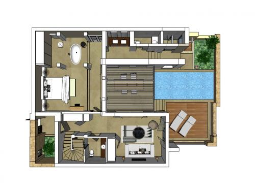 Residential Pool Villa Floor Plan